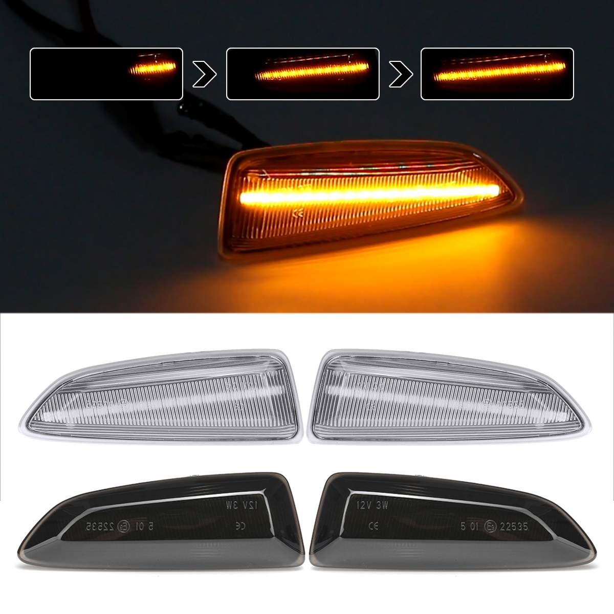 2x Dynamic <font><b>LED</b></font> Side Marker Lights 12V Flowing Turn Signal Light Side Repeater Lamp Panel Lamp for Opel for Vauxhall <font><b>Astra</b></font> <font><b>J</b></font> K image