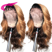KRN Ombre Color Lace Front Wigs for Women Brazilian Remy Hair free Part Wigs 100% Human Hair Front Lace Wig with Baby Hair