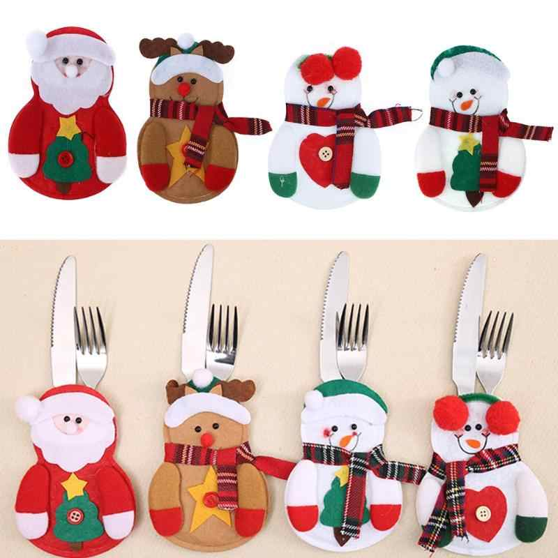 2019 New Year Christmas Cutlery Bags Santa Claus Snowman Elk Kitchen Dining Table Gift Bag Home Christmas Decorations