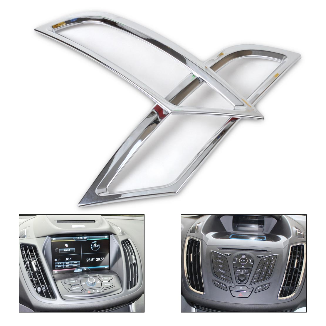 DWCX car styling 2pcs Chrome Dashboard Air Vent Outlet Cover Trim Garnish for Ford Kuga Escape