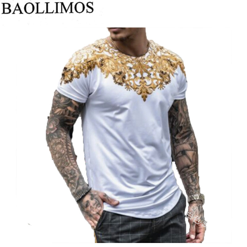 2019 New Style Men T Shirt Slim Fit Short Sleeve Polyester Fiber Print Casual Tops Shirts Men Clothes Men T Shirt