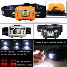Супер яркий 3000 люмен светодиодный ИК-датчик налобный фонарь USB Перезаряжаемый кемпинговый налобный фонарь для парусного спорта спелептическая Охота 6 режимов