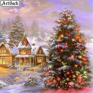 Зимний пейзаж 5d diy Алмазная картина, Рождественская елка, дом, картина, 3D Алмазная вышивка-мозаика стразами, подарки для детей