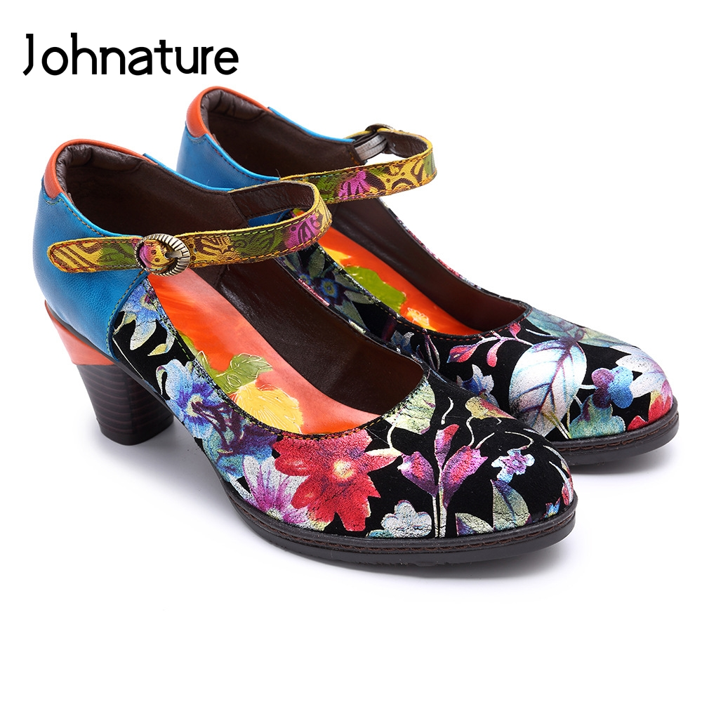 Johnature 2019 Genuine Leather Mary Janes Hoof Heels Square Toe Casual Buckle Strap Hand Painted Flower Retro Women Shoes PumpsJohnature 2019 Genuine Leather Mary Janes Hoof Heels Square Toe Casual Buckle Strap Hand Painted Flower Retro Women Shoes Pumps