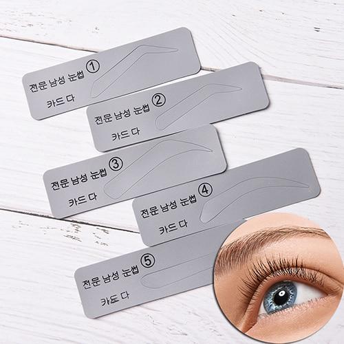 5pcs/set Men Reusable Eyebrow Stencil Set Eye Brow DIY Drawing Guide Styling Shaping Grooming Template Card Makeup Beauty Kit 1