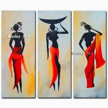 Modern 3 Panel Gold Canvas Picture Home Decor Wall Art Handpainted Abstract Africa Women Oil Painting Handmade Figure Paintings