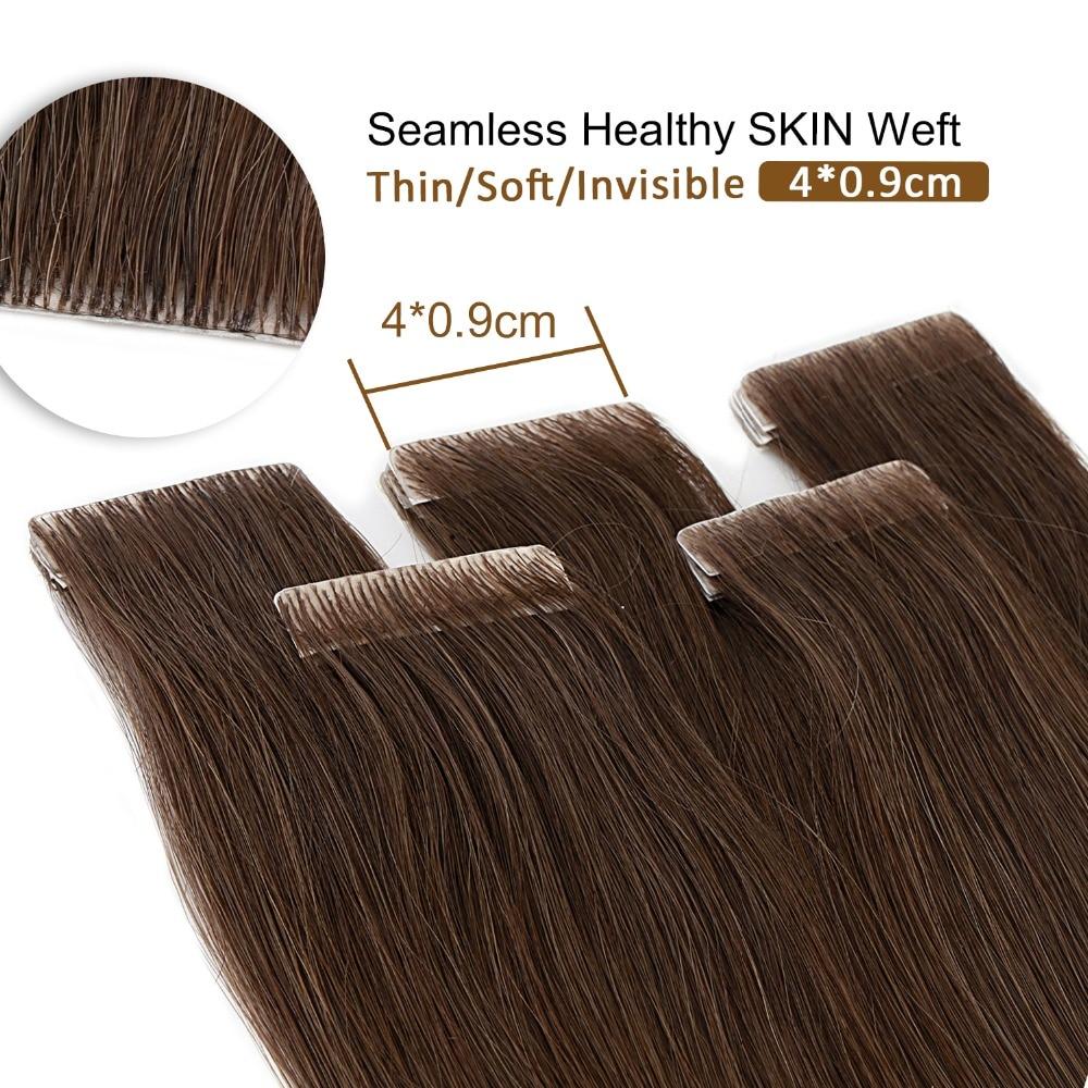 Neitsi Natural Straight PU Skin Weft Adhesives Hair Extensions 16