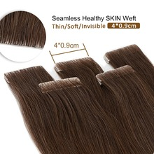 """Neitsi Natural Straight PU Skin Weft Adhesives Hair Extensions 16"""" 20"""" 24"""" Blonde Color Hand Tied Tape In Remy Human Hair"""