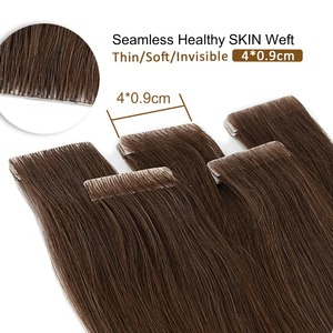 """Image 1 - Neitsi Natural Straight PU Skin Weft Adhesives Hair Extensions 16"""" 20"""" 24"""" Blonde Color Hand Tied Tape In Remy Human Hair"""