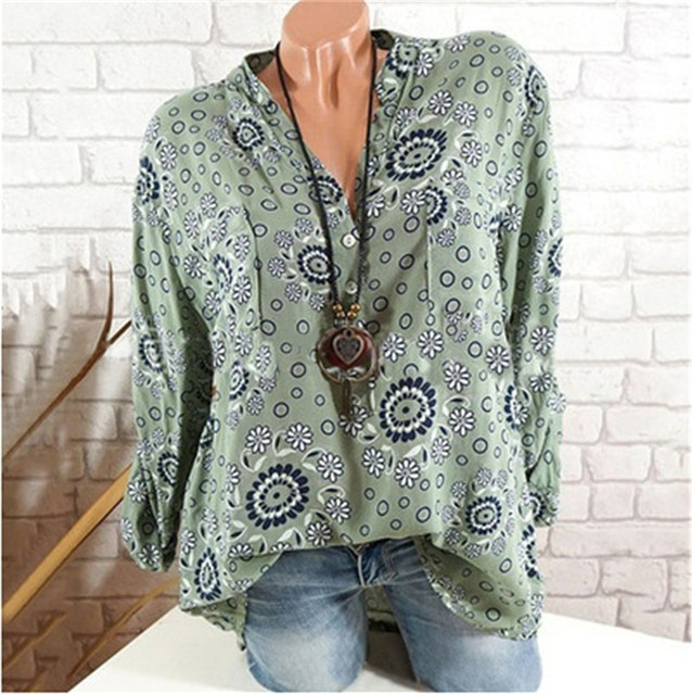 Fashion Women Long Sleeve Top Sexy V-neck Printing Casual Plus Size Blouse Loose Shirt