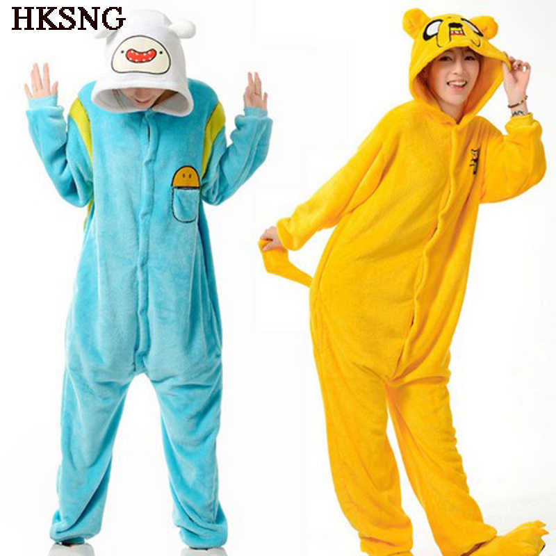 HKSNG Adventure Time Finn Adut Kigurumi chat ours tigre Pikachu Onesies adulte Animal Jack chien pyjamas Costume de fête Homewear