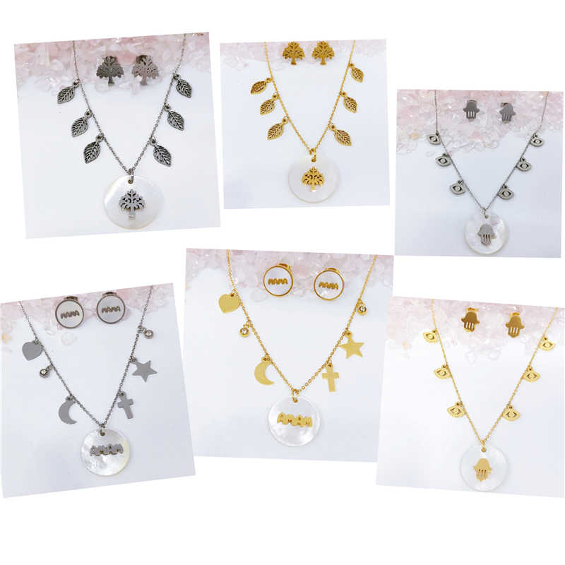 Stainless Steel Natural Shell Sexy Short Chain Tree/MAMA/Hand Cute Necklace Pendants Earrings Jewelry Sets Women Party Wedding