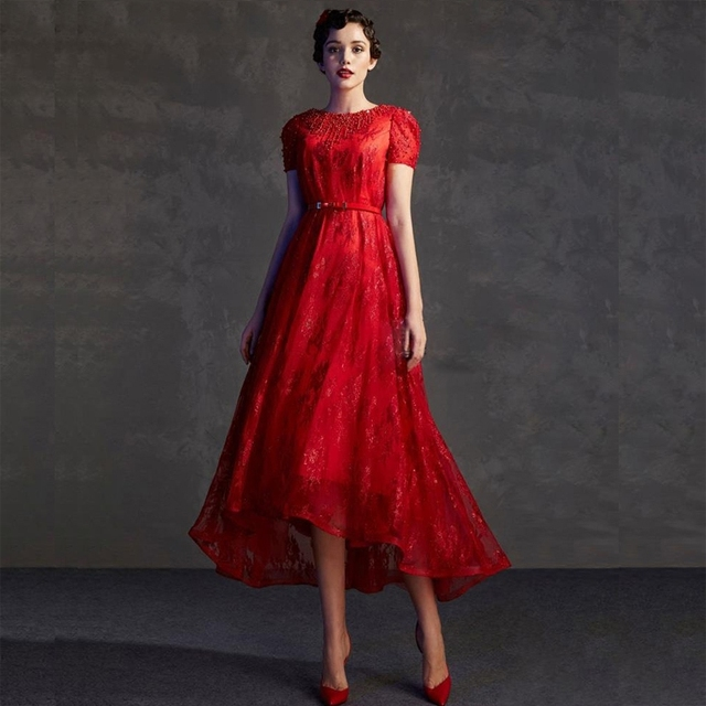 03eed3492 Vestido de fiesta de noche corto de encaje rojo de alta costura diseño único  bata de