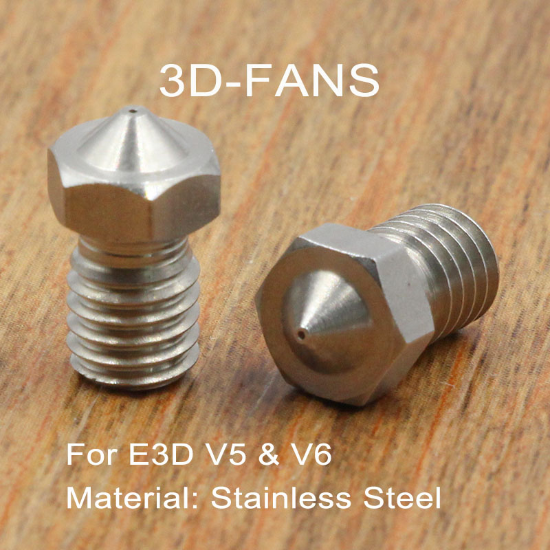 1Pc 3D Printer J-Head Extruder Stainless Steel Nozzle 0.25/0.4/0.5/0.6/0.8/1.0 For 1.75mm 3mm Filament E3D V6 & V5