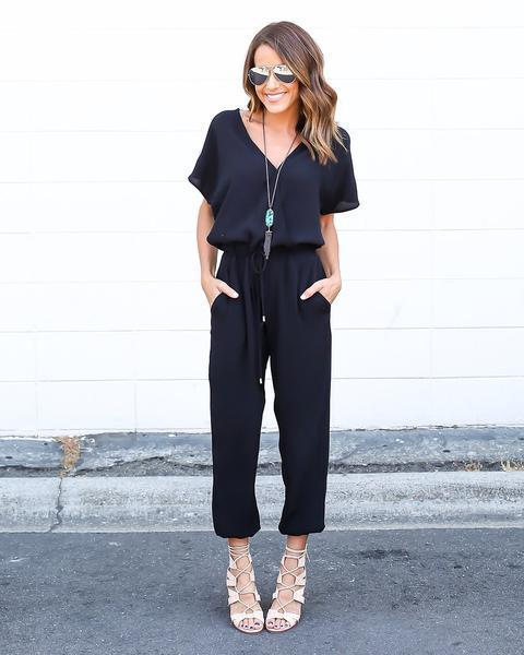 2017 Sexy Women Jumpsuit Summer Loose Short Sleeve Sashes Combinaison Femme Chiffon Rompers Womens Jumpsuit Black Grey Red J08