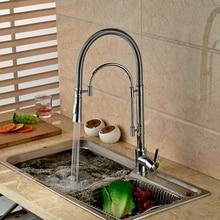 Pull Down Носик Кран Хромированная Отделка Кухонный Кран Однорычажный Одно Отверстие Смеситель Для Кухни