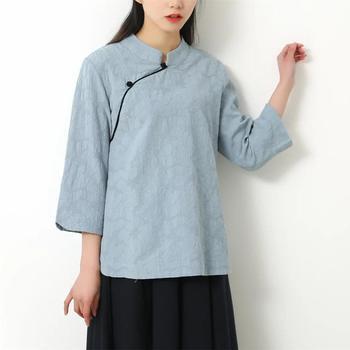 Chiński lniane topy 2019 nowy lato etniczne odzież żakardowe tradycyjna chińska odzież dla kobiet 3 4 rękawem chiński tunika tanie i dobre opinie Nagodo Pościel WOMEN NG031405 Dobby