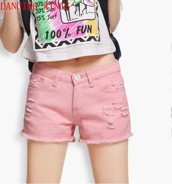 Été blanc rose denim shorts dames couleur bonbon taille basse droite jeans shorts trou glands coton chaud