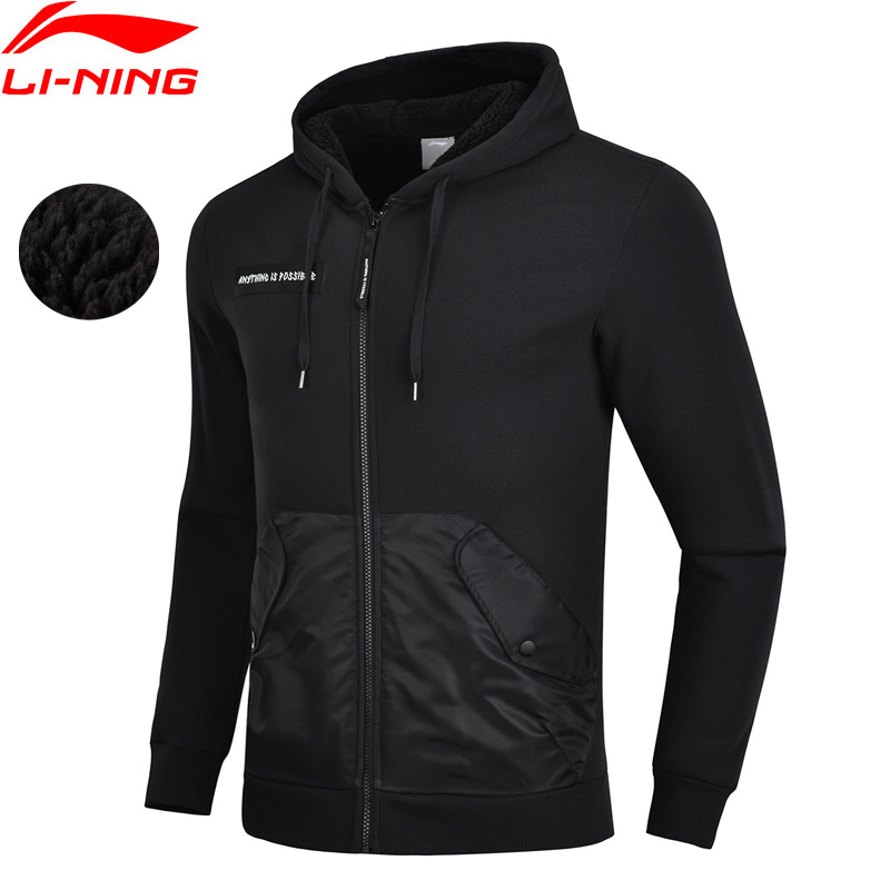 Li-Ning Men The Trend Sports Sweater Winter Warm Fleece Regular Fit 100% Cotton LiNing Comfort Sport Hoodie Coat AWDN883 MWW1503 side slit fleece drop shoulder pullover hoodie