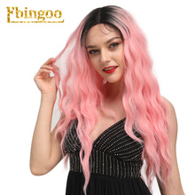 Ebingoo Pink Ombre Dark Roots Synthetic Lace Front Wigs with Baby Hair Long Water Wave Wig for Women Heat Resistant Fiber стоимость