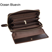 OCEAN BLUEVIN New Wallet Men Leather Genuine Solid Men Wallets Leather Zipper Hasp Vintage Card Holder Long Carteira Masculina