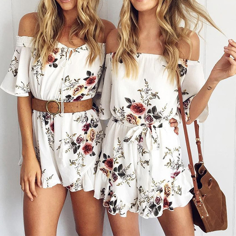 NIBESSER Women Sexy Off Shoulder Floral Print Elegant Ruffle Jumpsuit Romper Ladies Summer Beach Short Playsuit