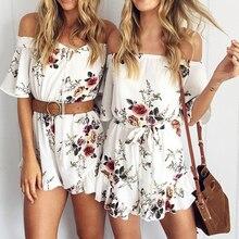 Nibesser пикантные женские с открытыми плечами Цветочный принт элегантный рябить комбинезон женские летние пляжные шорты комбинезон женщин Комбинезоны