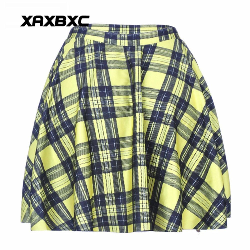 NEW 1017 Summer Sexy Girl Scotland plaid tartan Yellow Printed Cheering Squad Tutu Skater Women Mini Pleated Skirt Plus Size