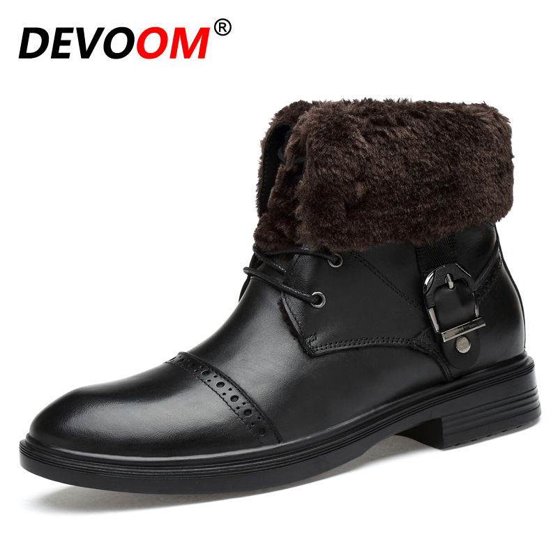 Unisex Handmade Real Genuine Leather Winter Mens Boots High Quality Man Shoes Lovers Snow Warm Ankle Boots Fur Plush Big Size 48