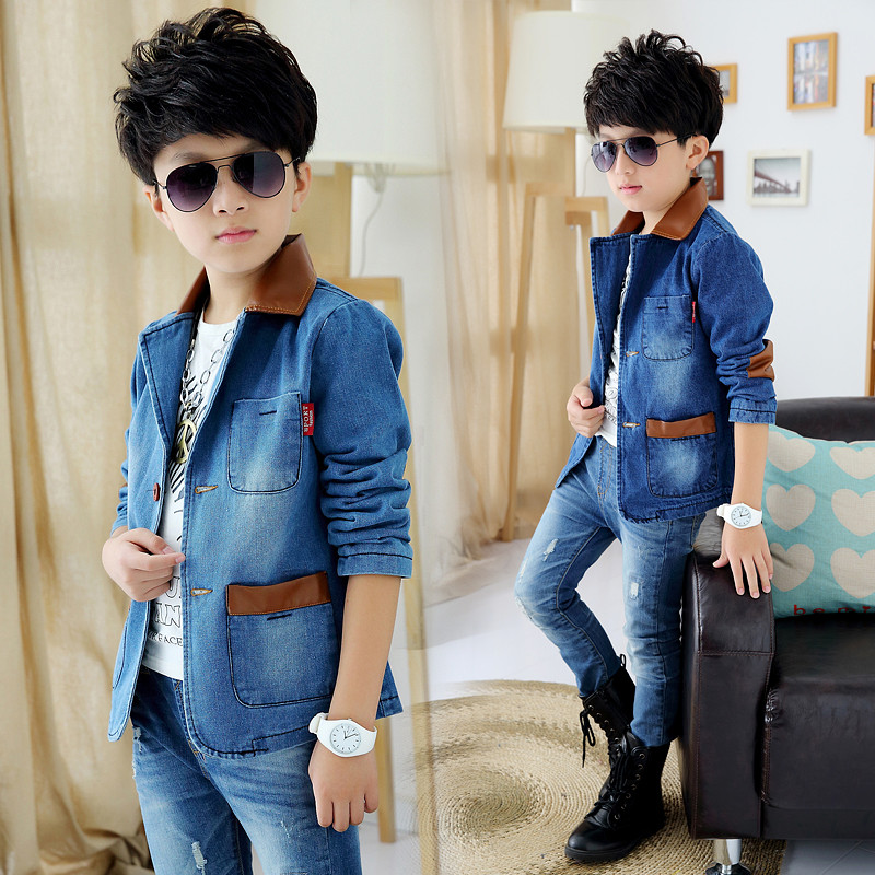 High quality boy's jacket 2017 new boys denim jacket / spring and autumn jackets for boys children's suit kids suit high quality print denim jacket for boys jacket clothes for teens ripped denim coats spring boys outerwear coat for boys