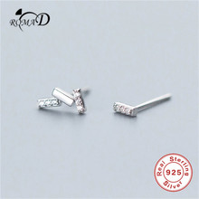 Romad 925 Real Sterling Silver Jewelry Fashion Cute Tiny Asymmetric CZ Stud Earrings Gift For Girls Kids Lady