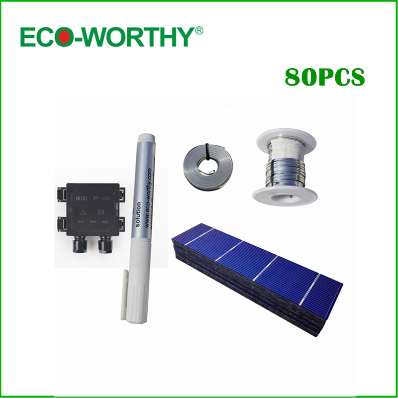 ФОТО 80pcs Poly Solar Cell 156x39mm Polycrystalline Solar Cells kits High Quality for DIY 80W Solar Panel