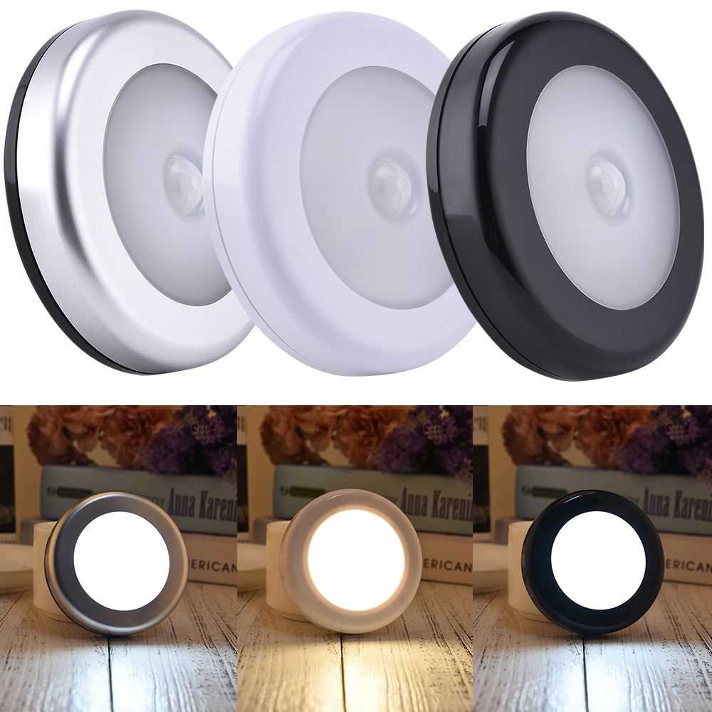 3PACK  PIR Motion Sensor LED Under Cabinet Light  6LEDs Ultra Thin Closet Kitchen Stair Wardrobe Downlight Round Night Light D30