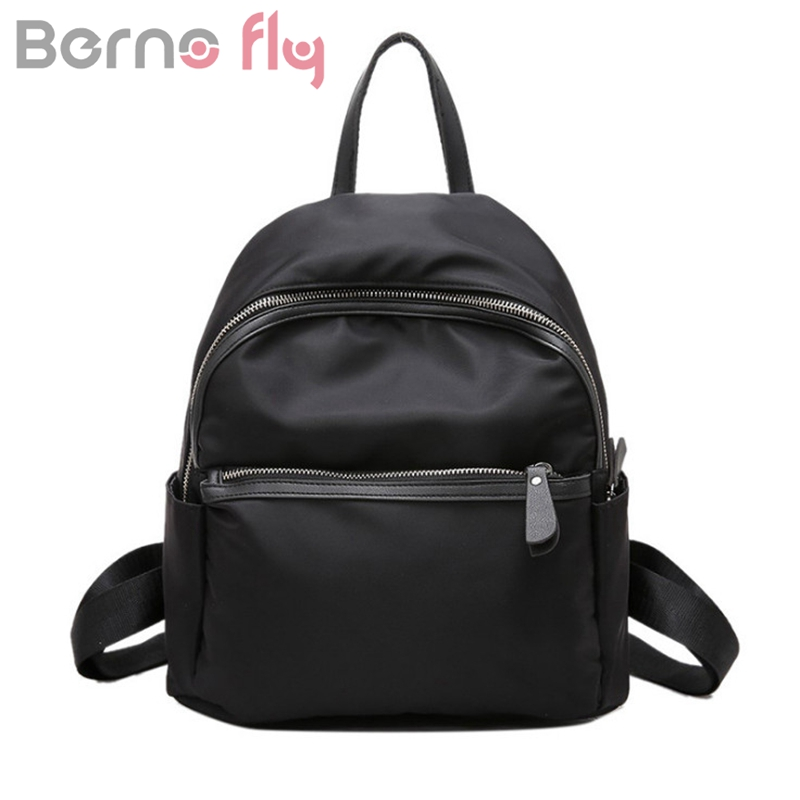 Berno Fly Brand Small Waterproof Nylon Women Backpack Fashion Black Shoulder Back Bag Preppy Style Backpacks for Teenage Girls