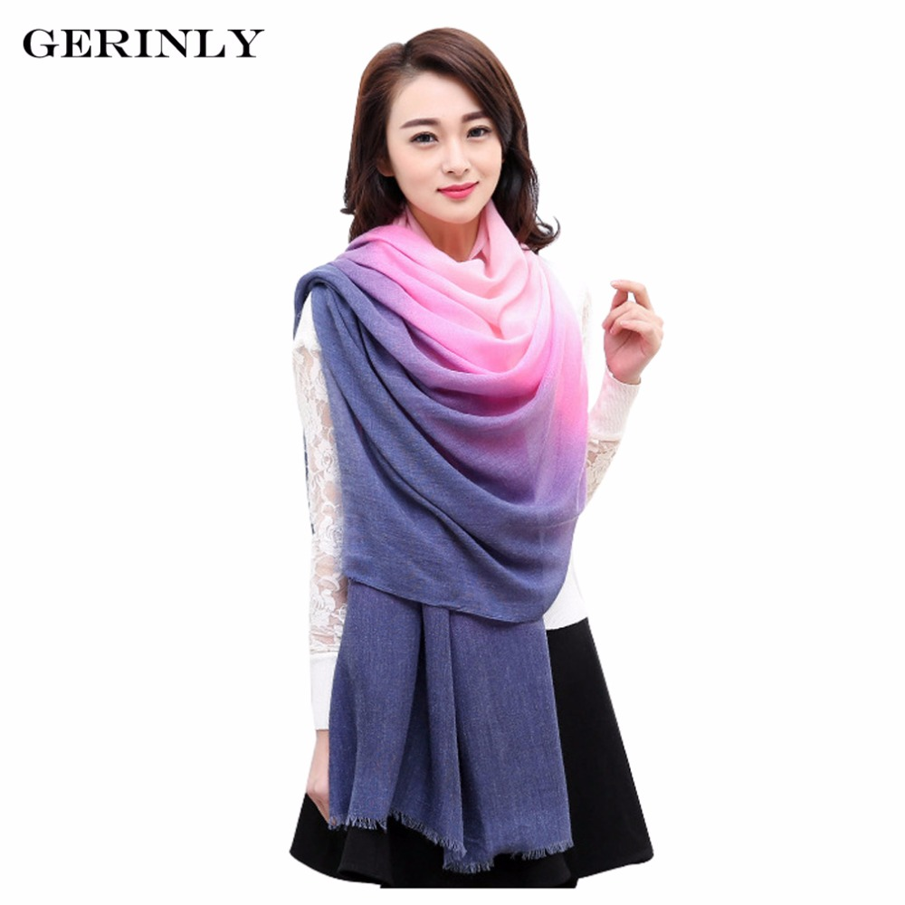 GERINLY Winter   Scarves   Women Shawls Pashmina Cachecol Gradual Color Scarfs Foulard Femme Bandana Tassel   Scarf   Cotton Hijab   Wraps