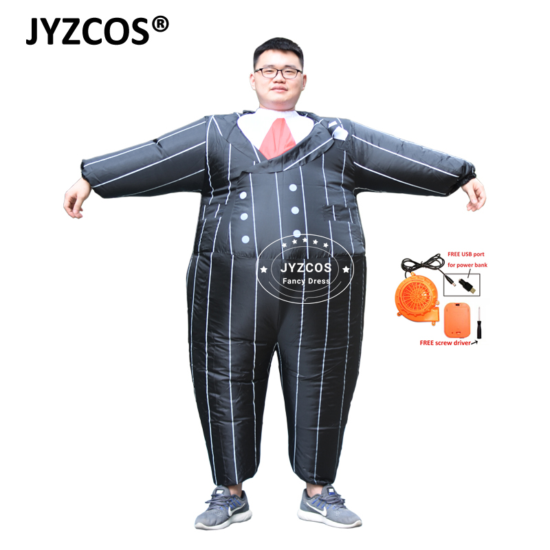 JYZCOS Gangster Inflatable Costume Halloween Costume Inflatable Black Suits Party Fancy Dress for Adult Men