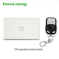 US Standard Remote Control Switch 1 Gang 1 Way White Crystal Glass Panel AC90 140V LED