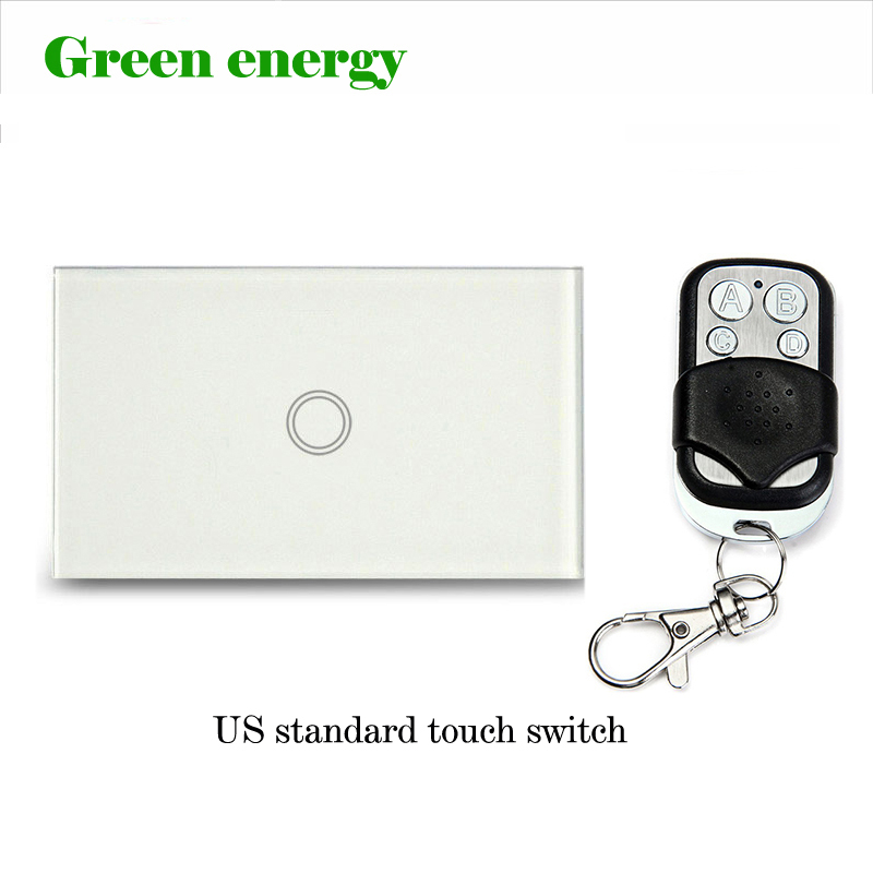 US Standard Remote Control Switch 1 Gang 1 Way,White Crystal Glass Panel, AC90~140V, LED indicator,US Light Touch Screen Switch 2017 smart home us standard wireless remote control 3 gang 1 way wall light touch switch white crystal glass panel ac 110v 240v