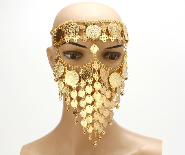 Traje de la danza de vientre de sombreros monedas cara máscara velo  tribales árabes de África bebe87a2707