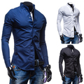 De calidad superior 2015 nuevos hombres libres del envío de manga camisas largas ocasionales hombres hombres de la camisa básica Slim Fit Male shirt13CS07