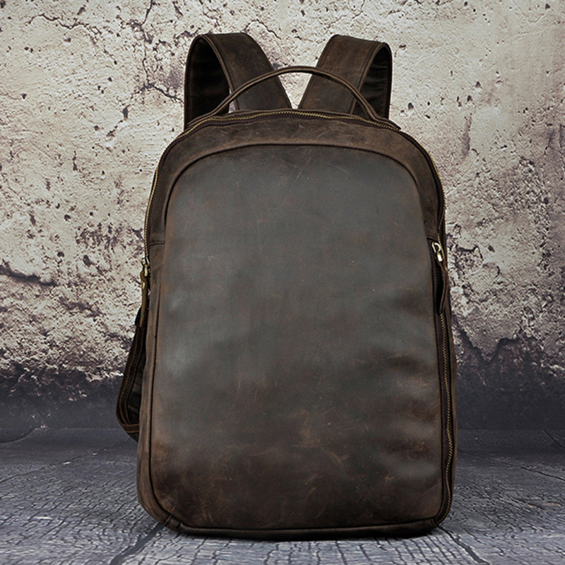 Men Crazy Horse Cowhide Backpack Daypack High Quality Knapsack Large Capacity Genuine Leather 14'' Laptop Book Bag Rucksack