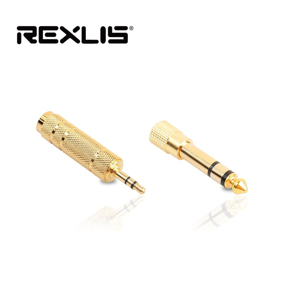 REXLIS Jack 6.35 Mm 6.5 6.35mm Male Plug To 3.5mm Female Connector Amplifier Audio Adapter Microphone AUX 6.3 3.5 Mm Converter
