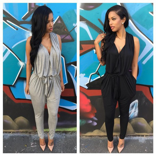 046616f4407 Polyester Sashes Regular Casual Fashion Deep V-Neck Sexy Summer 2015  Rompers Womens Jumpsuit for Women Black Gray S M L XL
