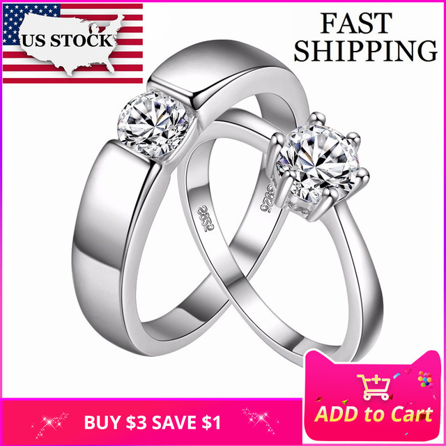 US STOCK 2 Pcs Crystal Jewelry Engagement Ring for Men Women Wedding Couple Rings Jewelry Aliancas de Casamento Uloveido J002