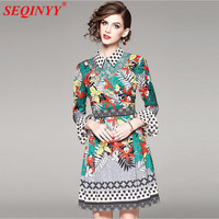 Temparement Print Slim Dress 2018 Spring High End 3 4 Flare Sleeve Turn Down Collar Plants
