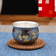 fine silver Cup Silver Handmade Teaware Bright Old Hammered Gold-plated Plum Blossom Tea