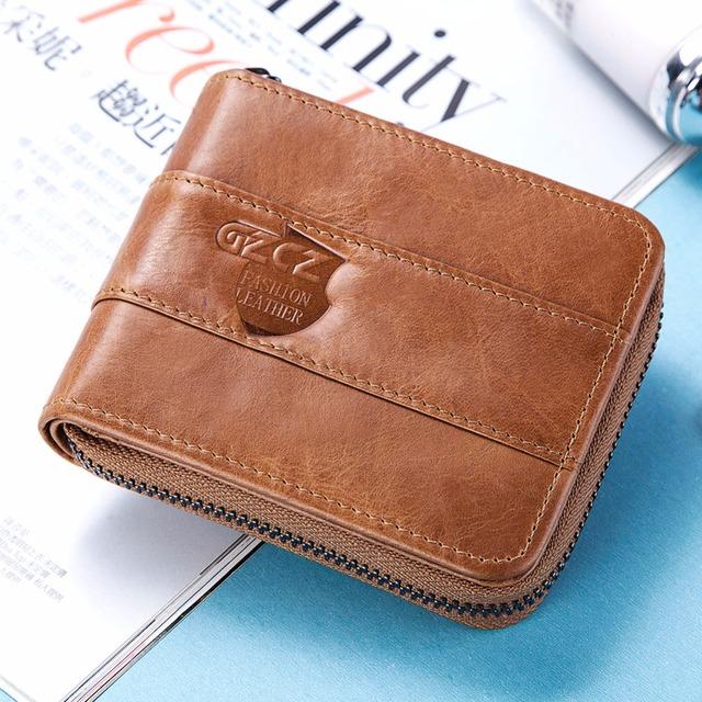 Billeteras De hombres Cartera de cuero genuino de Moda hombre pequeñas carteras de rfid tarjeta de crédito titular de la moneda de la cremallera bolsillo rojo bolso marrón
