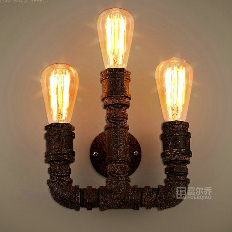 Loft vintage living room pipe wall lamp home decoration lighting fixture free shipping
