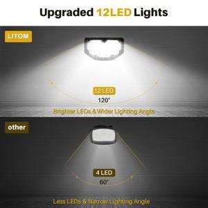 Image 5 - 4 パック litom 12 led ソーラーガーデンライトアップグレード IP67 防水ランプ屋外 2 照明モード 2 · イン · 1 調節可能なソーラースポットライト