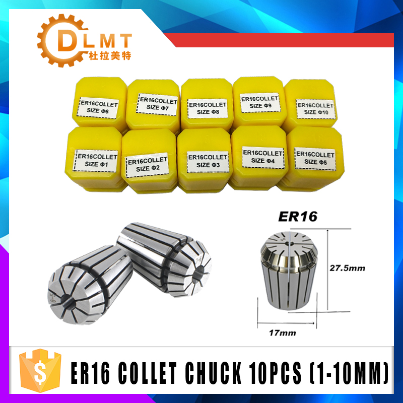 1pcs ER16 1-10MM 1/4  6.35 1/8 3.175 1.5 2.5 Spring Collet High Precision Collet Set For CNC Engraving Machine Lathe Mill Tool